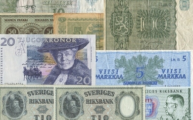 Small lot banknotes from Finland, Norway and Sweden, in total 24 pcs in varying condition