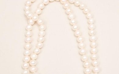 South Sea Long Strand Pearls With Diamond and 14K Gold