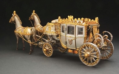 Sterling Silver Stage Coach Pulled By Two Horses. Sterling...