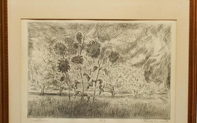 """Sunflowers"" Signed Etching 1958"