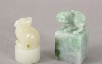 TWO 19TH / 20TH CENTURY CHINESE CARVED JADE / JADEITE