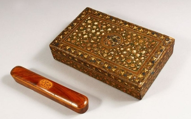 TWO 19TH CENTURY INDIAN WOODEN ITEMS, a pen box