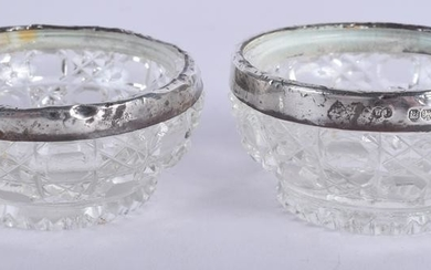 TWO SILVER MOUNTED GLASS SALTS. (2)