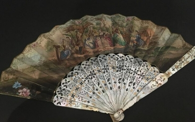 The Hunting Stop, fan, Romantic period, second third of the 19th century