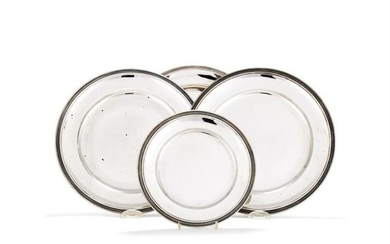 Three Italian silver coloured large plates and one small by Periggia & C.