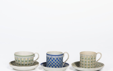 Three Wedgwood Tricolor Diceware Jasper Dip Cups and Saucers