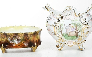 Two Porcelain Planters, One R.S. Prussia