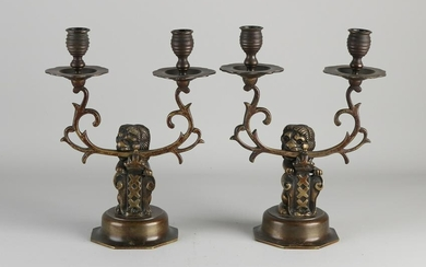 Two antique Dutch bronze candlesticks with lion and