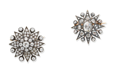 Two diamond star brooches