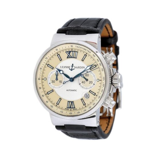 Ulysse Nardin Marine wristwatch, men, provenance documents, stainless steel, d=44 mm / Men's Ulysse Nardin Maxi Marine Chronograph wristwatch, reference 353-66, UN-35 gauge, automatic chronograph movement, glazed back. The silver and ivory dial...