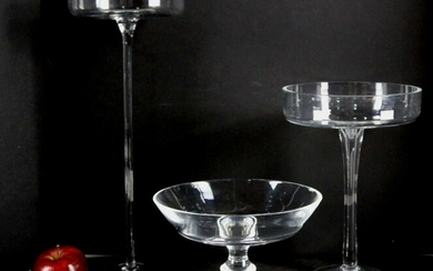 VINTAGE TALL GLASS COMPOTE GROUPING