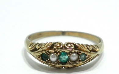 Victorian 9K Gold Ring Set with Emeralds and Pearls