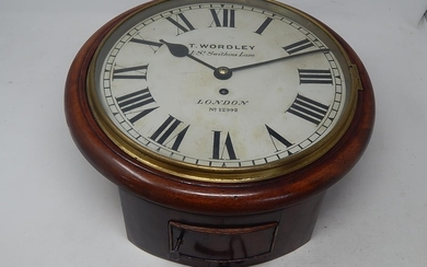 """Victorian Fusee Movement Station Clock. The Dial marked """"T. ..."""