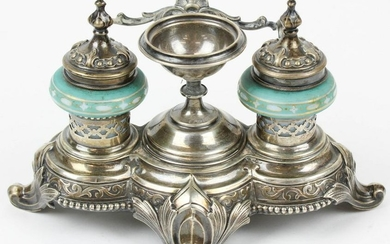 Victorian Silver Writing Stand With Glass Inkwells