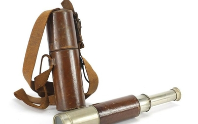 Victorian leather bound four drawer telescope by A Rofs