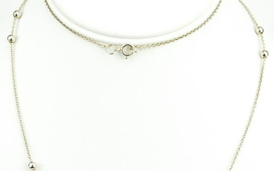 Vintage Sterling Silver Beaded Necklace Chain