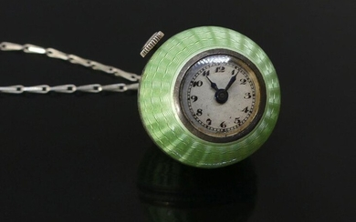 WATCH BALL in silver enamelled almond green and CHAINETTE (slight sheen). Gross weight 25 g