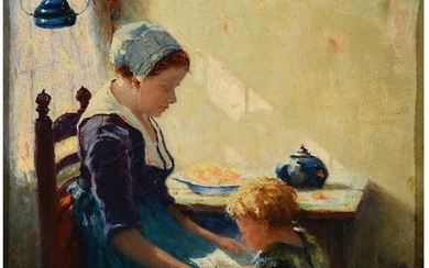 """Walter Keith """"Mother and Child"""" oil on canvas"""