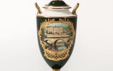 """Wedgwood Bone China Limited Edition Vase and Cover, England, 1997, from the Genius Collection, the """"Chatsworth House Vase"""" with gold tr"""
