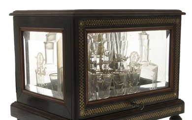 Wonderful French Brass Marquetry and Boulle Tantalus Set, Late 19th Century.