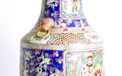 antique, Chinese, canton enameled vase, late Qing dyn.