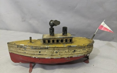 c1910 German Hand painted Tin Wind Up Boat Ship