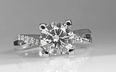 14 kt. White gold - Ring - 1.42 ct Diamond - No Reserve VS1
