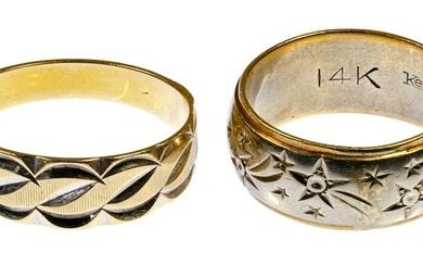 14k White and Yellow Gold Band Rings