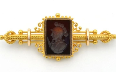 14k Yellow gold Victorian intaglio brooch
