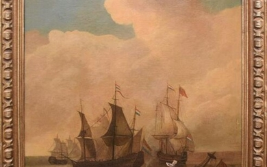 17/18th Century old master ships painting, battle