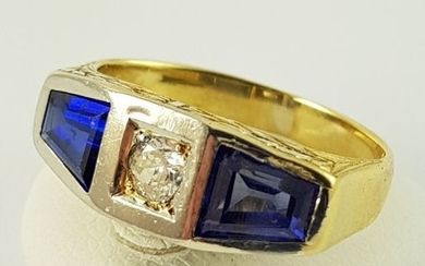 18 kt. Bicolour, White gold, Yellow gold - Sapphire Ring - 750 Bicolor Gold - 2 Sapphires + 1 Brilliant - 1.60 ct Sapphire - Diamond