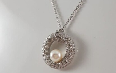 18 kt. White gold - Necklace with pendant - Diamond