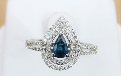 18 kt. White gold - Ring - 0.48 ct Sapphire - Diamond