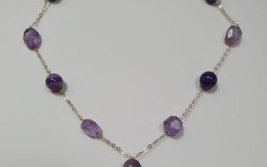 18 kt. Yellow gold - Necklace with pendant Amethyst
