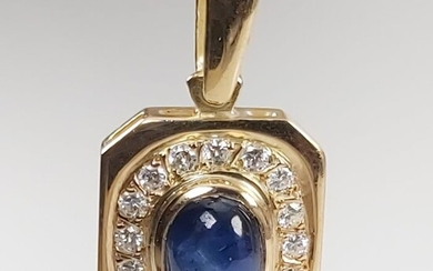 18 kt. Yellow gold - Pendant - 1.10 ct Sapphire - Diamonds