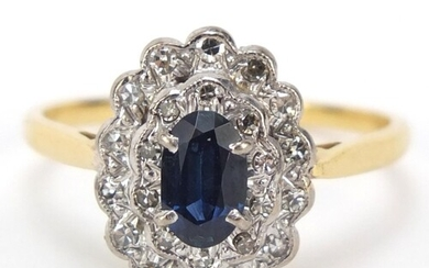 18ct gold sapphire and diamond three tier cluster ring, size...