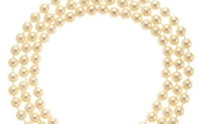 18kt yellow gold, cultured pearls and diamond necklace