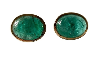 1950s Gold Oval Emerald Cabochon Pierced Earrings