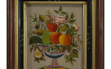 19th C. Hand Painted THEOREM on Glass, Walnut Frame