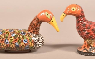 2 James Seagreaves Glazed Redware Bird Figurines.