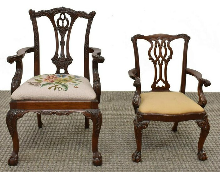 (2) MINIATURE CHIPPENDALE STYLE MAHOGANY CHAIRS