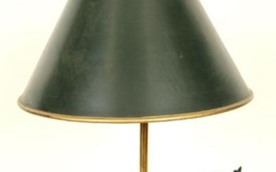 BRONZE TABLE LAMP METAL TOLE SHADE HORSE FIGURE