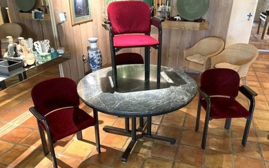 5 PC. STUHLE MARBLE TOP DINING TABLE AND CHAIRS