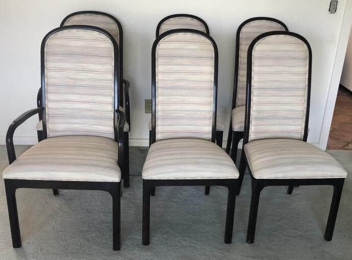6 Mid C Black Lacquer Upholstered Dining Chairs