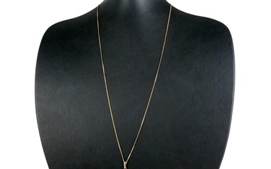 A 9CT GOLD AND DIAMOND PENDANT ON 9CT GOLD CHAIN, STYLISED C...