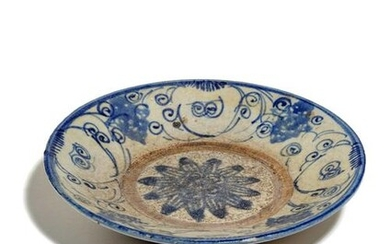 A Blue and White Glazed Pottery Dish