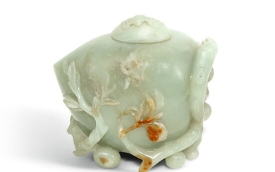 A CELADON JADE 'PEACH' WATERPOT AND COVER, QING DYNASTY, 19TH CENTURY | 清十九世紀 青白玉福壽雙全水盂