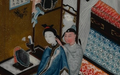 A CHINESE EXPORT REVERSE GLASS PAINTING OF A COUPLE, LATE 19TH / 20TH CENTURY
