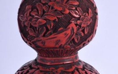 A CHINESE LACQUERED DOUBLE GOURD VASE. 16 cm high.