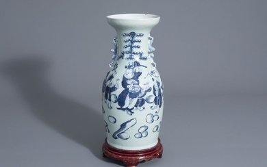 A Chinese blue and white celadon ground vase...